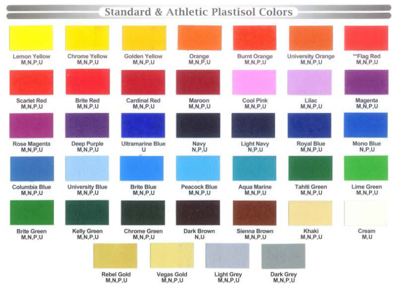 Houston Screen Print - Standard Ink Chart Colors