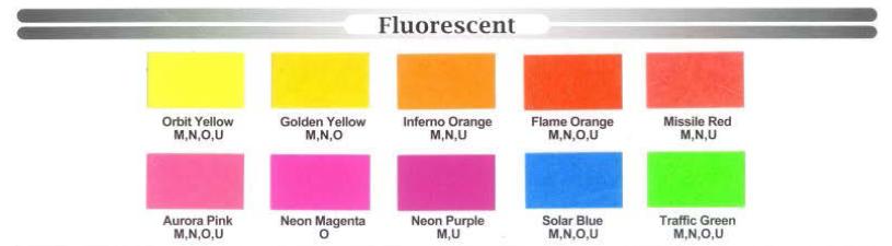 Houston Screen Print - Fluorescent Ink Chart Colors